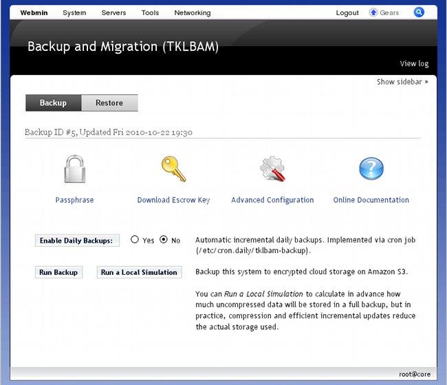 webmin-tklbam backup menu
