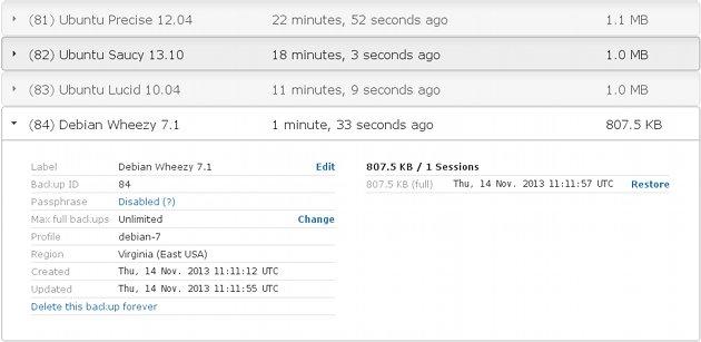 Screenshot of TurnKey Hub backups