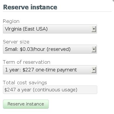 Reserve instance dialog