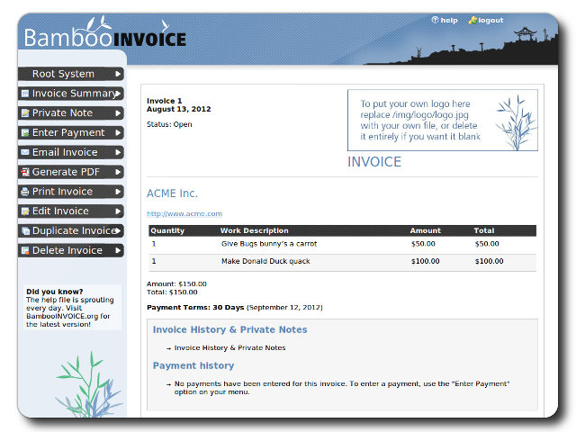 Bamboo Invoice Example Invoice TurnKey GNULinux Screenshot - Linux invoice software