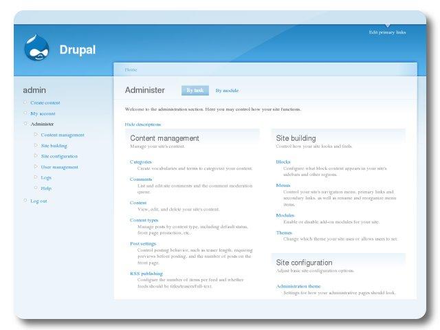 Drupal Administration Interface Turnkey Gnu Linux Screenshot