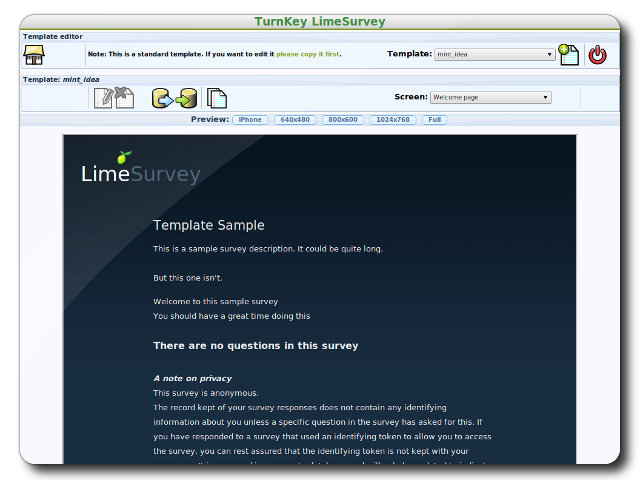 Limesurvey Template Sample Turnkey Gnu Linux Screenshot