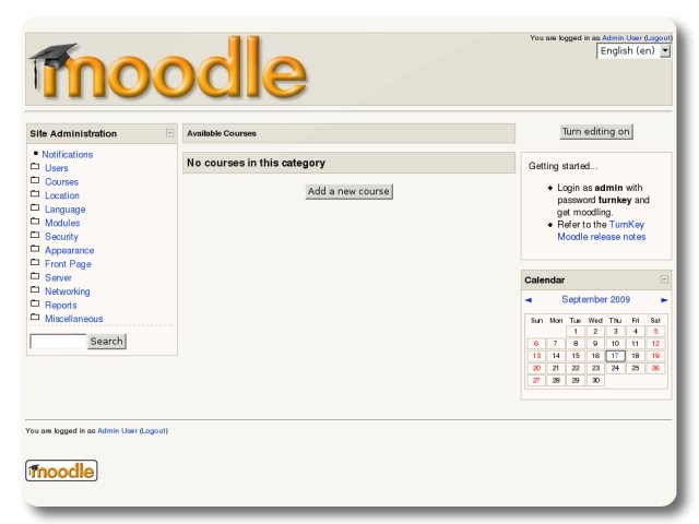 Moodle Welcome Page Turnkey Gnu Linux Screenshot