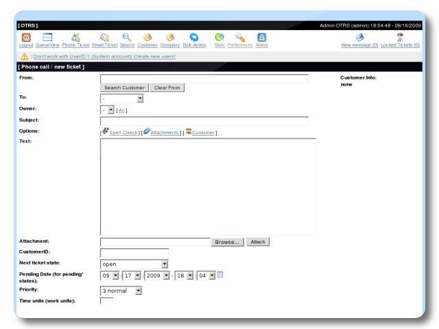 Otrs New Ticket Turnkey Gnu Linux Screenshot