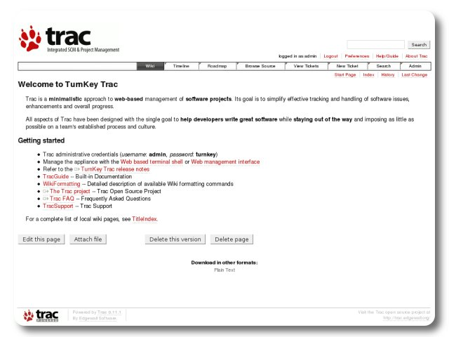 Trac - Project management and bug/issue tracking tool