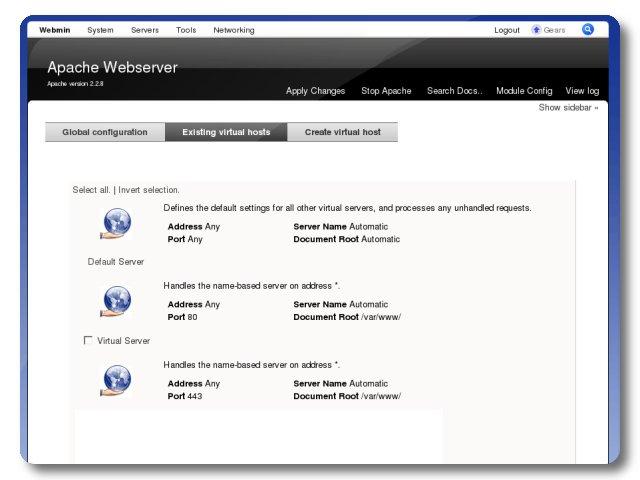 Web Management Interface Apache Lamp Configuration