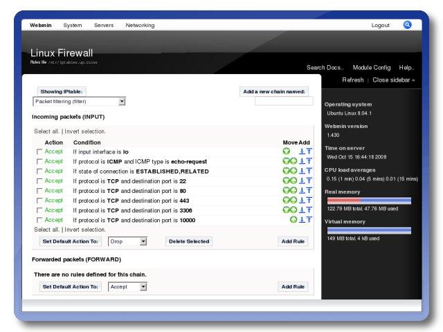Web Management Interface Firewall Turnkey Gnu Linux
