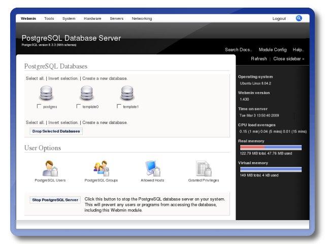 Web Management Interface Postgresql Configuration