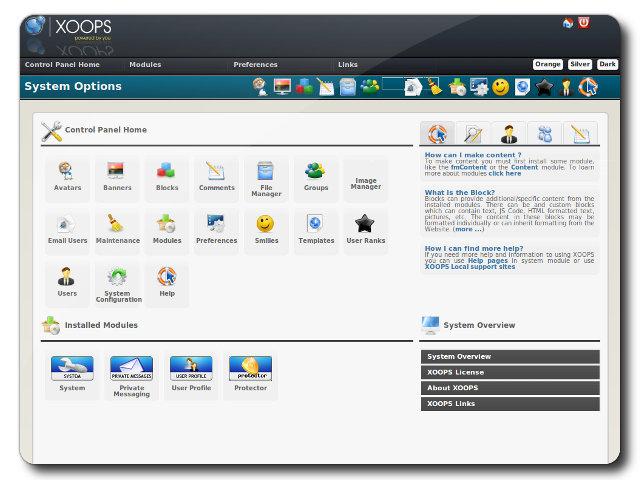 Xoops Control Panel Turnkey Gnu Linux