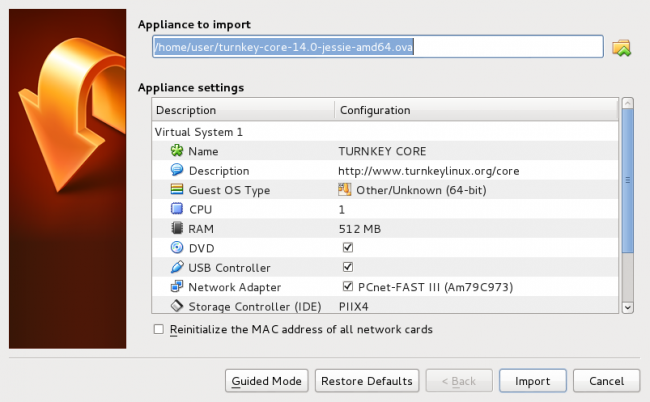 VirtualBox import wizard