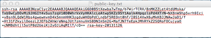 copy the public ssh key to a text file